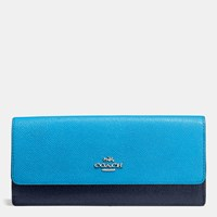 Coach Soft Wallet In Colorblock Leather Silver Azure Navy