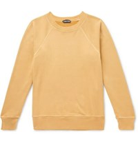 Tom Ford Garment Dyed Loopback Cotton Jersey Sweatshirt Yellow
