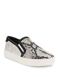 Vince Embossed Leather Slip On Sneakers Black White