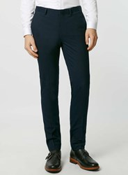 Topman Navy Textured Ultra Skinny Fit Suit Trousers Blue