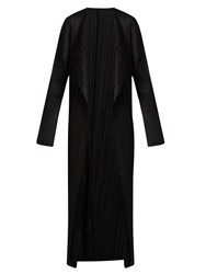 Issey Miyake Collarless Pleated Coat Black