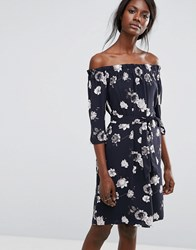 Selected Rosanna Off Shoulder Floral Dress Dark Sapphire Blue