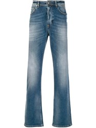 Versace Jeans Faded Straight Leg Jeans Blue