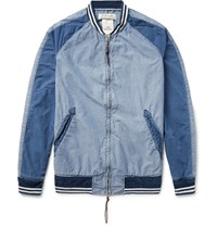 Remi Relief Panelled Denim Bomber Jacket Mid Denim