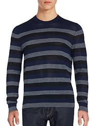 French Connection Striped Merino Wool Sweater Marine Blue
