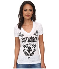 Affliction Chantilly Short Sleeve V Neck Tee White Burnout Women's T Shirt