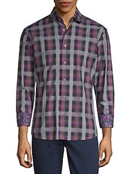 Bertigo Plaid Cotton Button Down Shirt Purple