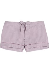 Bodas Verbier Striped Swiss Cotton Pajama Shorts Merlot