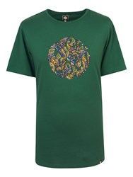 Pretty Green Men's Paisley Logo T Shirt Dark Dark Green