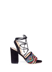 Valentino 'Native Couture' Beaded Suede Lace Up Sandals Multi Colour