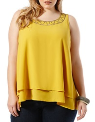 Harper Liv Plus Embellished Sleeveless Blouse Mustard