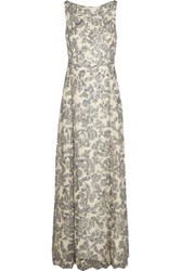Tory Burch Skye Embroidered Crepe Gown Silver