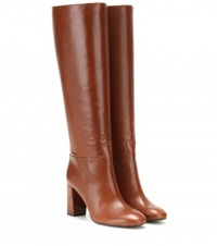 Tory Burch Devon Leather Knee High Boots Brown