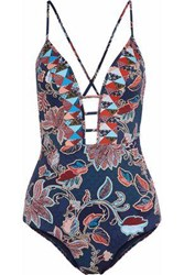 Jets Australia By Jessika Allen Cutout Printed Swimsuit Multicolor