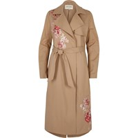 River Island Womens Brown Floral Embroidered Trench Coat