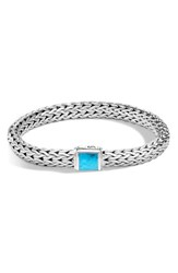 John Hardy Women's Classic Medium Chain Silver And Turquoise Bracelet
