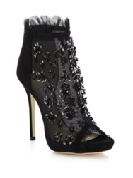 Jimmy Choo Keri Embroidered Mesh And Suede Booties Red Black