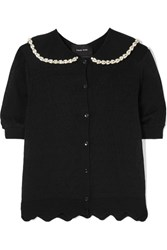 Simone Rocha Embellished Pointelle Knit Cardigan Black Gbp