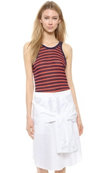 Alexander Wang Striped Rayon Linen Tank Navy And Paprika