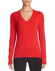 Lord And Taylor Plus Basic V Neck Cashmere Sweater Bright Red