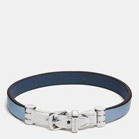 Coach Two Tone Leather Buckle Bracelet Silver Cornflower Denim