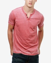Lucky Brand Men's Heathered Henley Cowhide Red