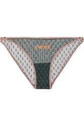 Love Stories Shelby Printed Lace Briefs Green