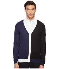 Mcq By Alexander Mcqueen Color Block Cardigan Black Ivory Navy