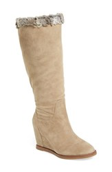 Women's Johnston And Murphy 'Brynn' Tall Wedge Boot Mushroom Suede