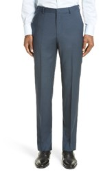 Z Zegna Men's Flat Front Houndstooth Wool Trousers Navy Solid