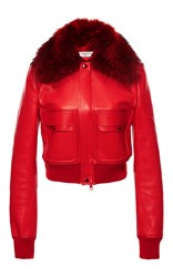Givenchy Fur Collar Leather Jacket Red