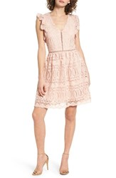 J.O.A. Women's Lace Fit And Flare Dress Pink