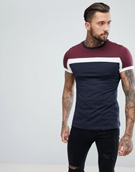 Asos Design T Shirt With Colour Block In Navy
