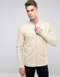 Asos Longline Jersey Bomber Jacket With Woven Panels In Beige Oxford Tan