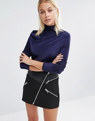 Fashion Union High Neck Top With Pleated Detailing Navy