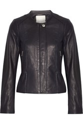 Joie Tamila Leather Jacket Midnight Blue