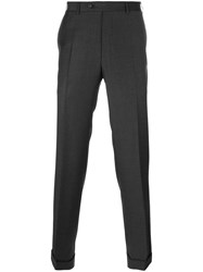 Canali Pleated Tapered Trousers Grey