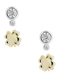 Lucky Brand Delicates Cubic Zirconia Two Tone Sterling Silver Shamrock Set Earrings Gold