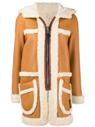 Coach Shearling Coat Brown
