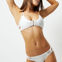 River Island Womens White Ribbed Zip Front Sporty Bikini Top