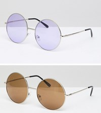 7X 2 Pack Coloured Lens Round Sunglasses Gold Purple Multi