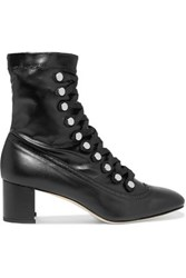 Chelsea Paris Malika Studded Lace Up Leather Ankle Boots Black