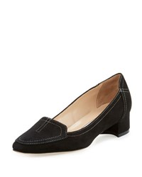 Manolo Blahnik Carlisa Suede 30Mm Loafer Pump Beige Black