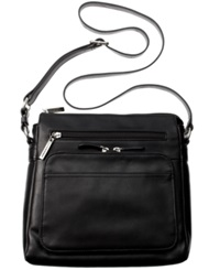 Giani Bernini Nappa Leather Front Zip Crossbody Black