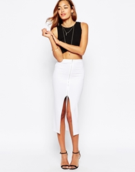 Asos Longline Pencil Skirt In Ponte With Zip Front White