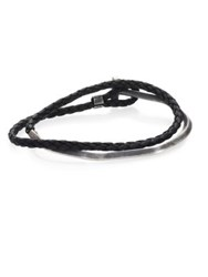 Title Of Work Gridlocks Sterling Silver And Leather Braided Bracelet No Color