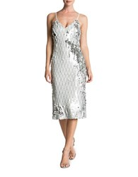 Dress The Population Nina Sequin Midi Slip White Silver