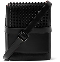 Christian Louboutin Benech Spiked Smooth And Full Grain Leather Messenger Bag Black