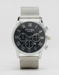 Reclaimed Vintage Chronograph Mesh Strap Watch In Silver Silver