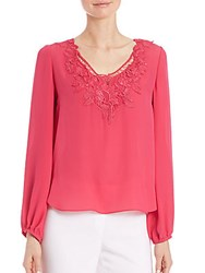 Elie Tahari Mina Floral Lace Silk Top Passion Tea